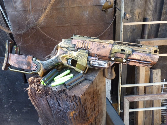 STEAMPUNK Zombie Strike SLEDGEFIRE Nerf Gun Fire 3 darts at once