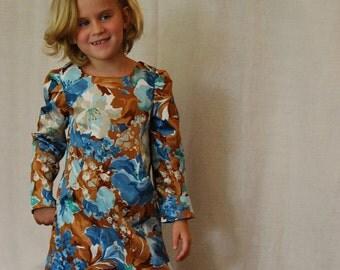 Size 3 4 5 6 7 8 girls Fall Dress - A line modern floral dress - Long sleeve shift dress for girls