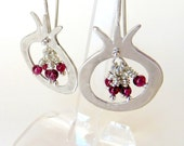 Sterling Silver Pomegranate Earrings with Garnet Beads