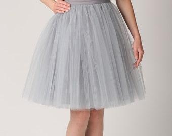Grey tulle skirt, Handmade tutu skirt, High quality   skirt, petticoat