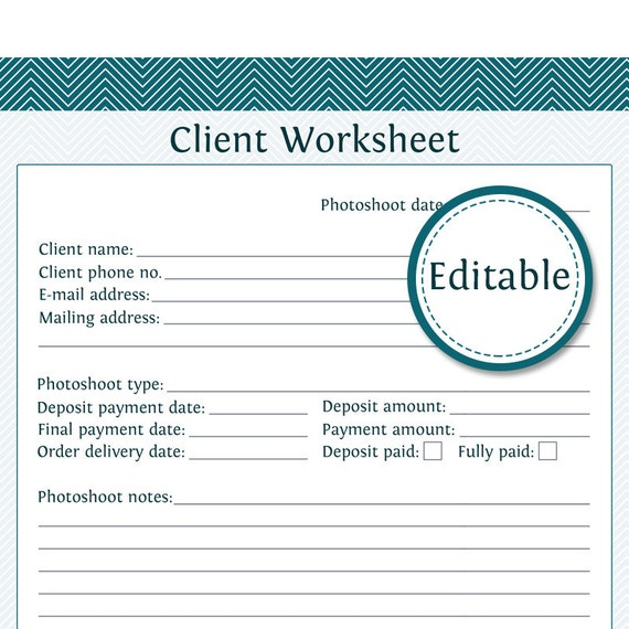 Client Worksheet Photography Business Organizing Fillable – New Business Client Information Template