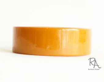 1940s Butterscotch Wide Bakelite Bangle | 1940s Bakelite Bracelet