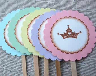 Princess Crown Cupcake Toppers -Set of 12 (Cinderella Crown/ Disney Princess Birthday Party/ Cupcake Decor)