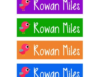 80 Custom Clothing Labels Iron on Labels Personalized Iron on Clothes Tags Daycare Name Labels School Camps - Uncut - Birdies