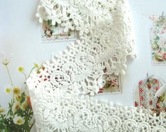 off White Cotton Lace Trim, vintage lace trim, antique lace fabric, cotton trim lace, retro floral lace, scollaped lace