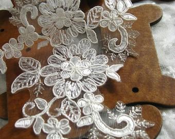 lace Applique, Alencon Lace Applique, bridal headpiece applique, wedding applique, Bridal hair flowers accessories, dzdh026