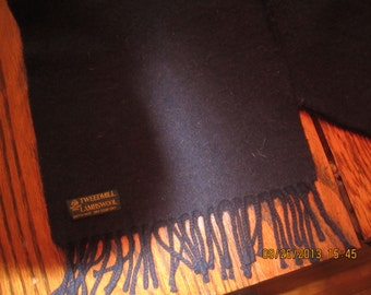 100 Percent Wool Tweedmill Black Scarf British Made Lambswool