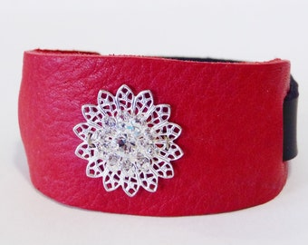 Leather cuff, leather bracelet, Red Leather Swarovski crystal cuff