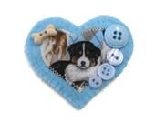Dog Lovers, Heart Brooch, Jacket Pin, Womens Accessory