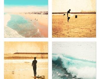 Surf Photography, Beach Photography, Set of 4 8x8 Fine Art Prints, California Photography, Ocean Photography, Vintage, Coastal, Surfer, Blue