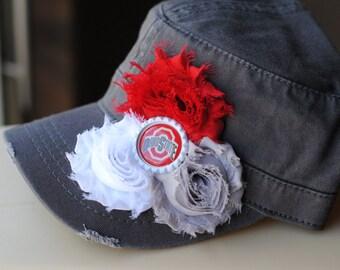 Womens Ohio State Hat Distressed Military Cadet flower hat. Shabby Chic Buckeye Bling Womens Hat Trucker Hat Baseball Cap