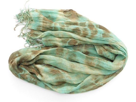 Brown and Green Scarf hand dyed scarf peacock colors