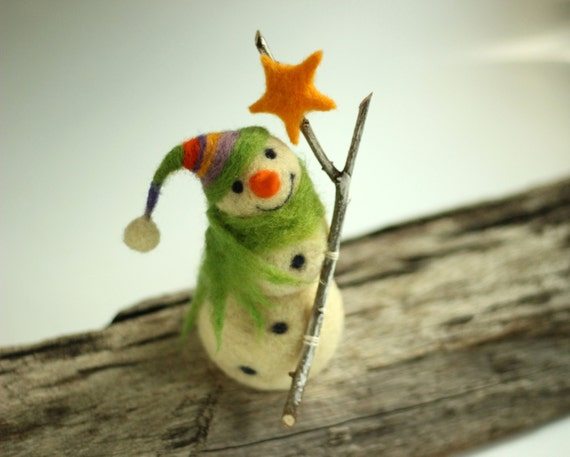 Happy White Snowman - Christmas Home Decoration - Needle Felted Art Doll