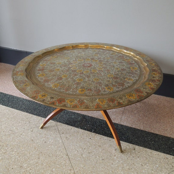 Brass Tray Coffee Table Vintage: Gorgeous Vintage Moroccan Brass Tray Coffee Table