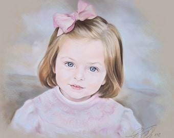 Custom Pastel portrait of a child, Handmade portraits, Children portraits