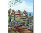Tuscan Village art print, Italian landscape painting,  landscape paintings, cityscape,  European decor,  home decor, 11x14 print