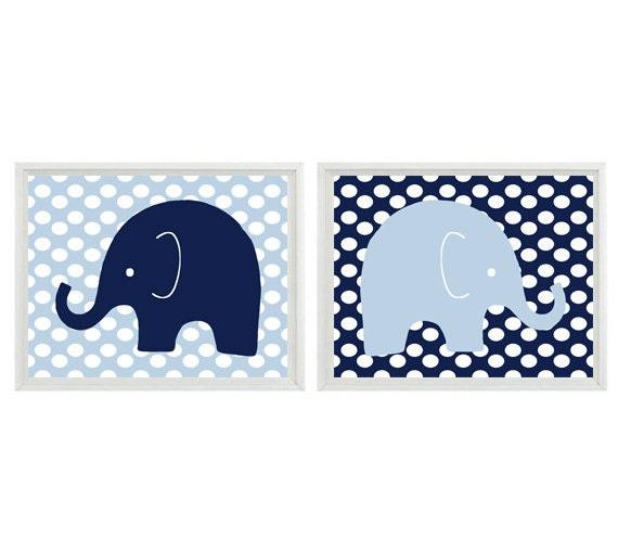 Navy Blue Wall Decor Nursery : Elephant nursery wall art print light blue navy decor