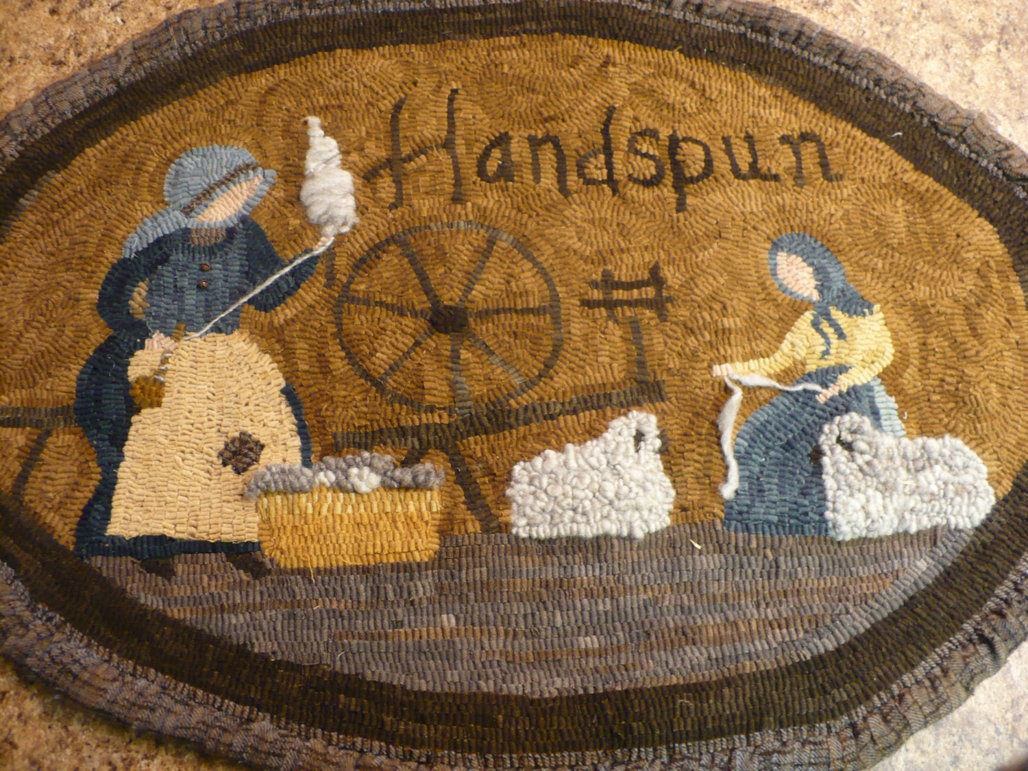 primitive rug hooking pattern on linen handspun 31 x