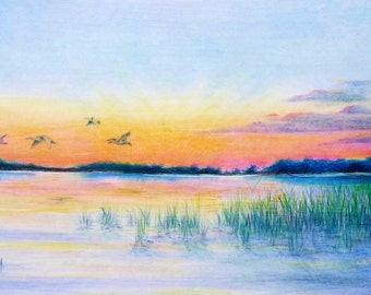 "Original Colored Pencil Painting ""Morning Flight"" with pink, yellow and orange highlights. Also available in limited addition prints."