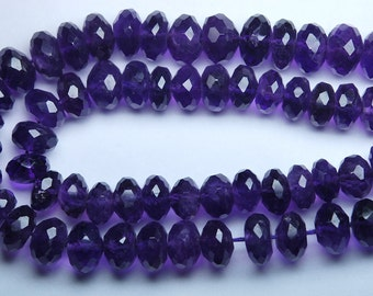9 Inches Strand, Super Finest, Natural Purple Amethyst Micro Faceted  Rondelles 8-7mm
