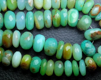 Peruvian Blue Opal Faceted Rondelles Shape Beads,Full 8 Inch Strand,10-11mm size Apprx,