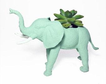 Up-cycled Sea Glass Elephant Planter