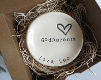 Godparents Gift, ring dish, CUSTOM ring holder, Gift from Godchild, Gift Boxed, Made to Order