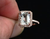 Rose Gold White Topaz Halo Ring in 14k with White Topaz Emerald Cut 9x7mm and Diamonds (Also Available in White Gold)