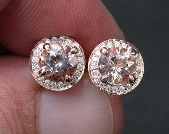 Rose Gold Morganite Earrings Round Morganite Earrings 14k Rose Gold with Morganite Round 6mm and Diamond Halo