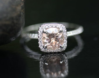 Morganite Cushion Halo Ring in 14k White Gold with Morganite Round 7mm and Diamond Ring