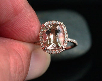 Cushion Morganite Engagement Ring 14k Rose Gold Morganite Cushion 10x8mm and Diamond Halo Ring