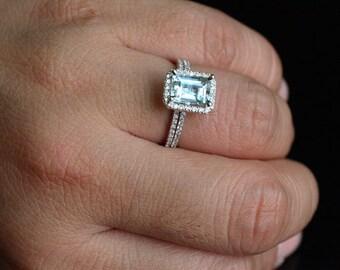 14k White Gold 8x6mm Aquamarine Emerald Cut And Diamonds Engagement Ring Wedding Band Set