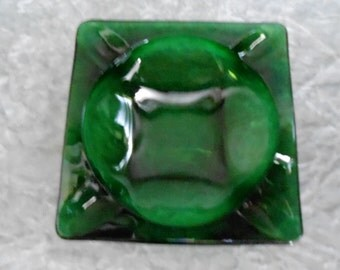 1940's Vintage Forest Green Ashtray
