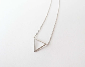 Triangle necklace // Geometric jewelry - SILVER