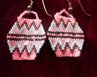 Native Hand Beaded Pottery Design Bead Earrings