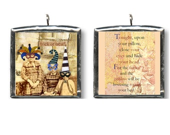 Trick Or Treat. Halloween, altered art charm, pendant. Double sided, hand soldered altered art collage