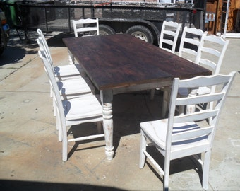 Old pine reclaimed pine table. Shabby chic style. Custom.