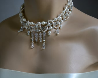 Bridal Jewelry, Chunky Pearl Necklace, Chunky Rhinestone Necklace, Wedding Pearl Necklace, Bridal Necklace