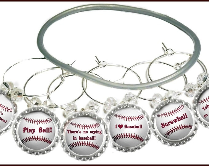 Baseball Wine Charms, Softball Wine Charms, Baseball Party Favors, Glass Markers, Glass Tags, Baseball, Baseball Bottle Cap Charms - 6/set