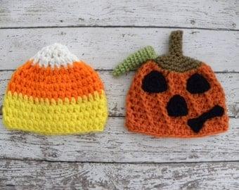 Twin boy Halloween hats. Twin boy jack o lantern hat and candy corn hat. Newborn baby Halloween twin photo prop hats.
