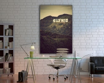 Old Hollywood - FINE ART Gallery Wrap Canvas - Wall, hanging, decor, california, green, sign, movies, film, industry, cinema, los angeles