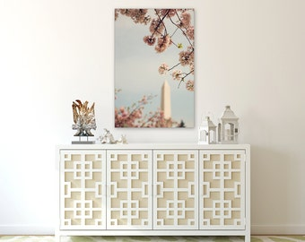 Spring in DC I -  Fine Art Canvas -  Pink Cherry Blossom, Spring, Festival, Washington, D.C., Washington Monument, Romantic, capital, decor