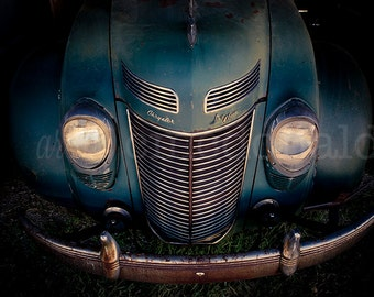 Smile - Photographic Print - Vintage, Car, Auto, Automobile, Chrysler, Blue, Photography, Wall, Art, Hanging,