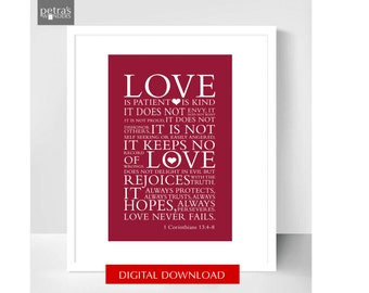 Wedding Love Print printable, Love is patient -  1 Corinthians 13:4, 8x10 Printable download JPEG  file- Petra's Wonders