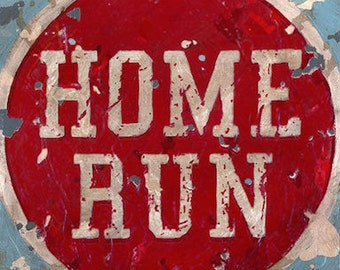 Home Run vintage look sports wall art by Aaron Christensen- Multiple Sizes Available - great decor idea for baseball fans, athletes