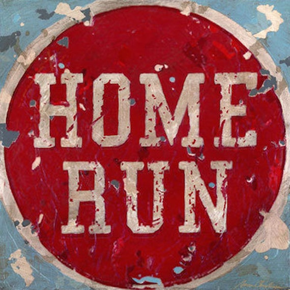 Home run vintage look sports wall art by aaron christensen for Vintage basketball wall art