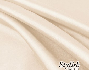 """60"""" Light Champagne Charmeuse Satin Fabric by the Yard, Charmeuse Fabrics, Charmeuse Satin, Bridal Wedding Satin Fabric- 1 Yard Style 2800"""