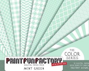 Mint green digital paper - Mint paper scrapbook backgrounds - 12 digital papers (#052) INSTANT DOWNLOAD