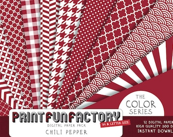Chili pepper digital paper - red pattern background paper - 12 digital papers (#064) INSTANT DOWNLOAD