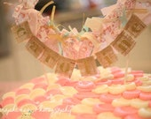 Shabby Chic Burlap & Fabric Name Banner Cake Topper for April
